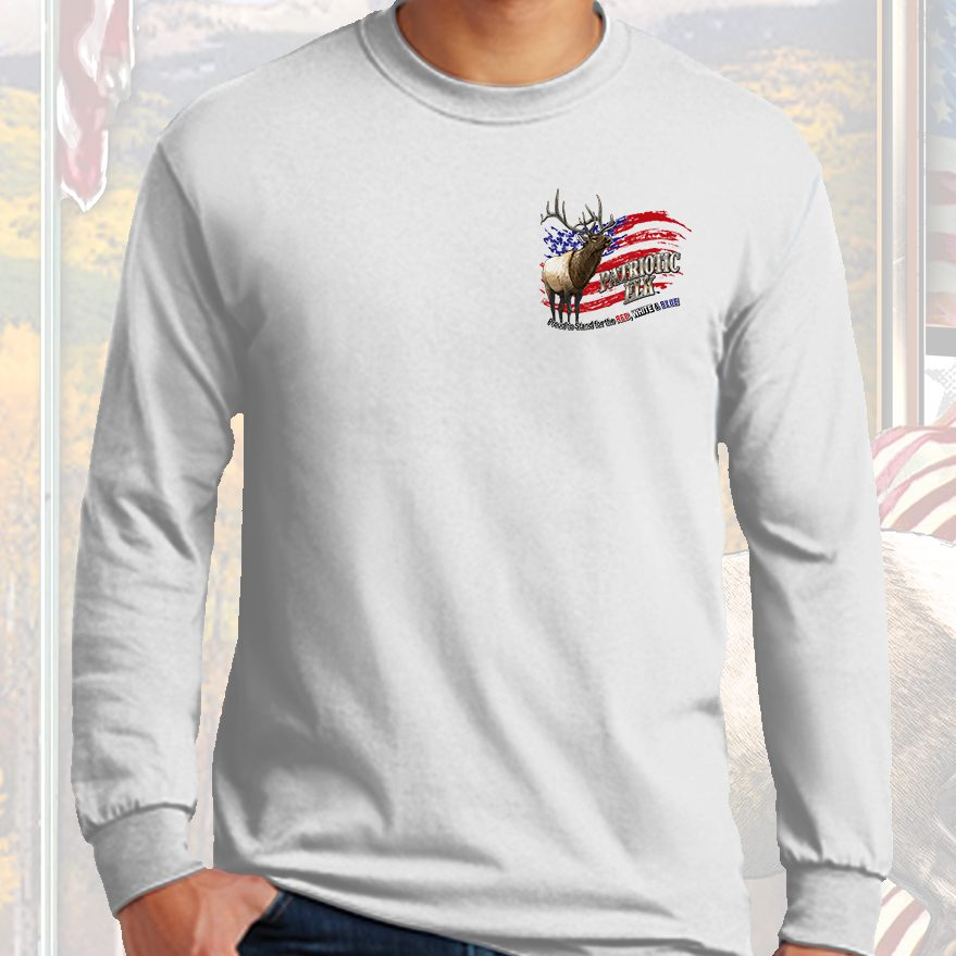 PATRIOTIC ELK GREAT AGAIN WHITE BP LS